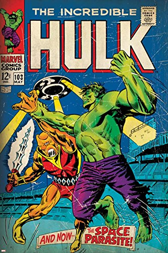 Marvel Comics Retro: The Incredible Hulk Comic Book Cover No.103, with the Space Parasite (aged) Poster 24 x - Retro Parasite