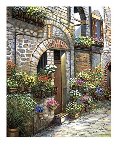 (Global Gallery Sambataro Flower Pots at Spello-Giclee on Paper Print-Unframed-20 x 16 in Image Size, 20