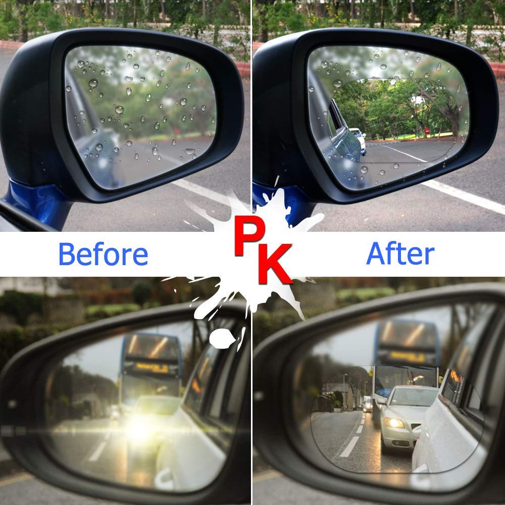 4PCS Car Rearview Mirror Film,Car Side View Mirror,HD Nano Film Anti Fog Glare Rainproof Waterproof Mirror Window Film,Clear Protective Film Sticker Drive Safely for Car Mirrors and Side Windows