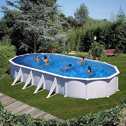 Gre KITPROV1028 Atlantis - Piscina Elevada Ovalada, Aspecto Acero Blanco, 1000 x 550 x 132 cm: Amazon.es: Deportes y aire libre