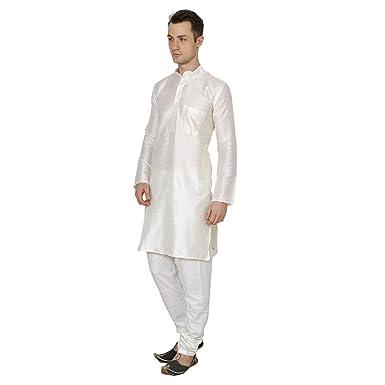 Shri India Mens Cream Indian Wedding Wear Silk Blend Bollywood Ethnic Kurta Pajama Set