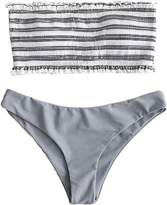JFan Mujer Bikini Bandeau de Rayas Bralette Traje de Baño de Tubo ...