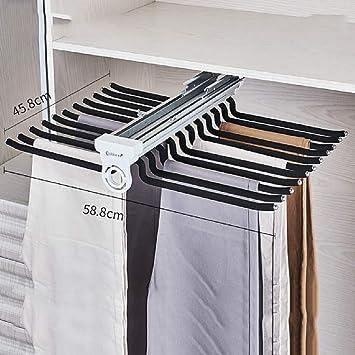 LF-YGJ Perchero extraíble de Aluminio para Pantalones, amortiguación de Armario Perchero Completo de Doble Fila con Doble Fila Superior (Color: Blanco) B: Amazon.es: Hogar