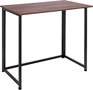 Folding Computer Desk for Small Spaces, Space-Saving Home Office Desk, Foldable Computer Table, Laptop Table, Writing Desk, Compact Study Reading Table (Dark Brown)