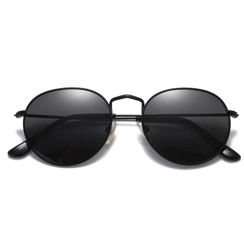 SOJOS Small Round Polarized Sunglasses Mirrored Lens Unisex Glasses SJ1014 3447 with Black Frame/Grey Polarized Lens by SOJOS