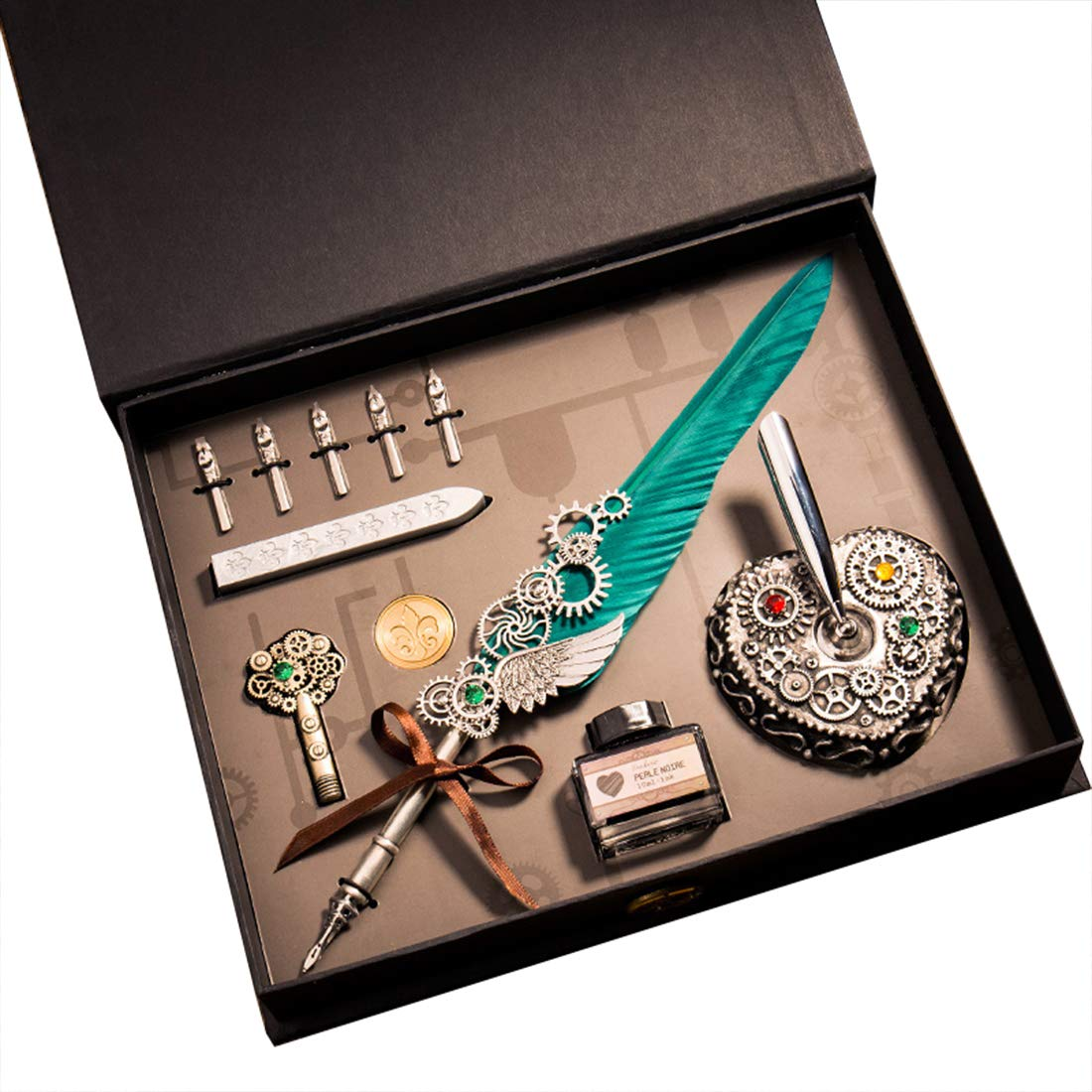 HENHEN Steampunk Calligraphy Pen Set, Mechanical Gear Decorated Quill Feather Pen + Ink + 5 Extra Nibs + Pen Holder + Brass Stamp + Sealing Wax Set, Artist Lettering, in Gift Box by HENHEN