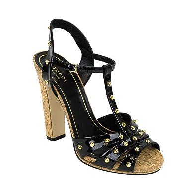 8b977d6ae5 Gucci Women's Black Jacquelyne Studs Patent Leather Platform Sandal 310349  1000 (G 38.5 / US