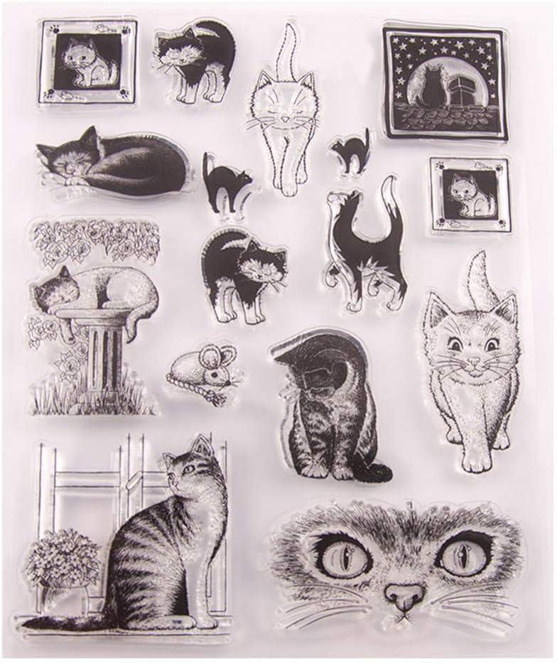 MIKI-Z Lovely Cats Silicone Clear Seal Timbro Album Fotografico in Rilievo per Scrapbooking Fai da Te