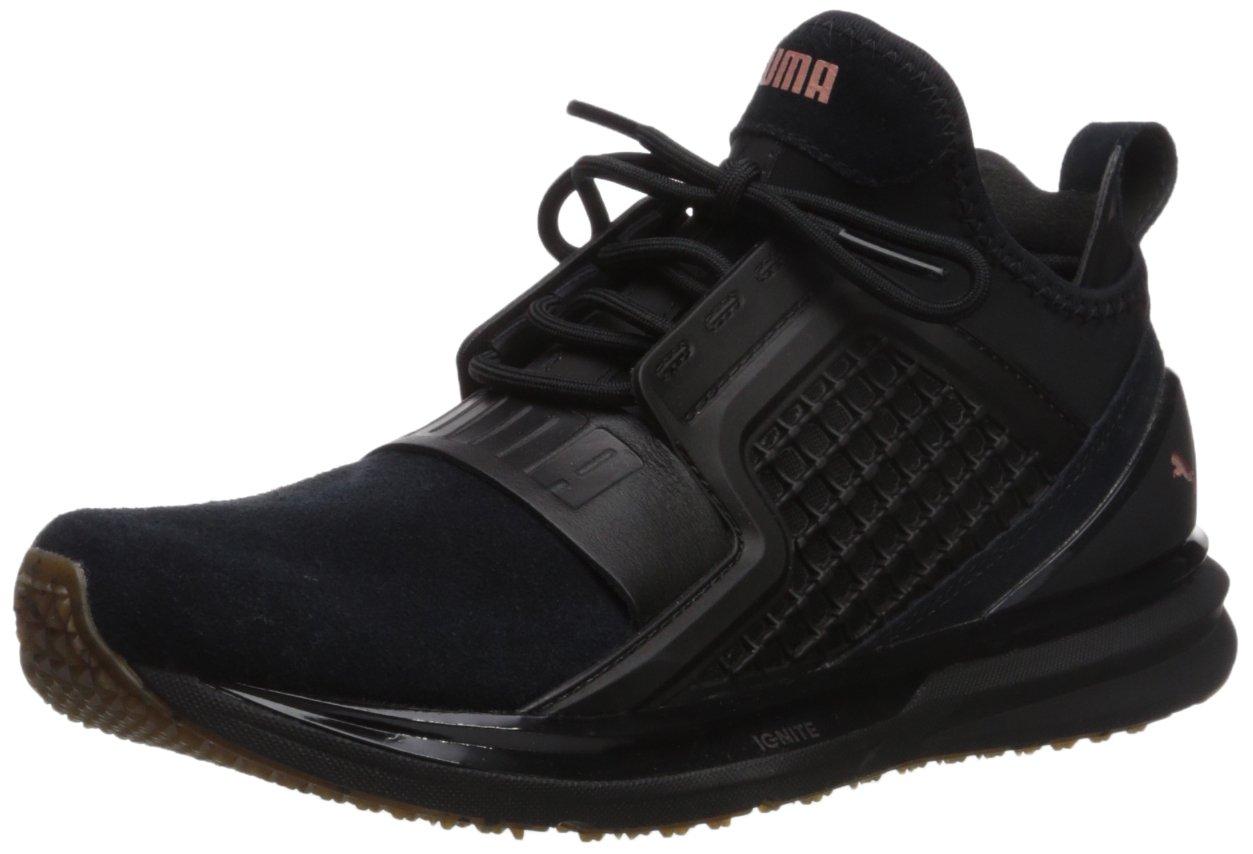 PUMA Women's Ignite Limitless Suede Wn Sneaker, Black, 8.5 M US