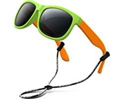 RIVBOS Kids Sunglasses with Strap Polarized UV Protection Flexible Rubber Shades for Boys Girls RBK023