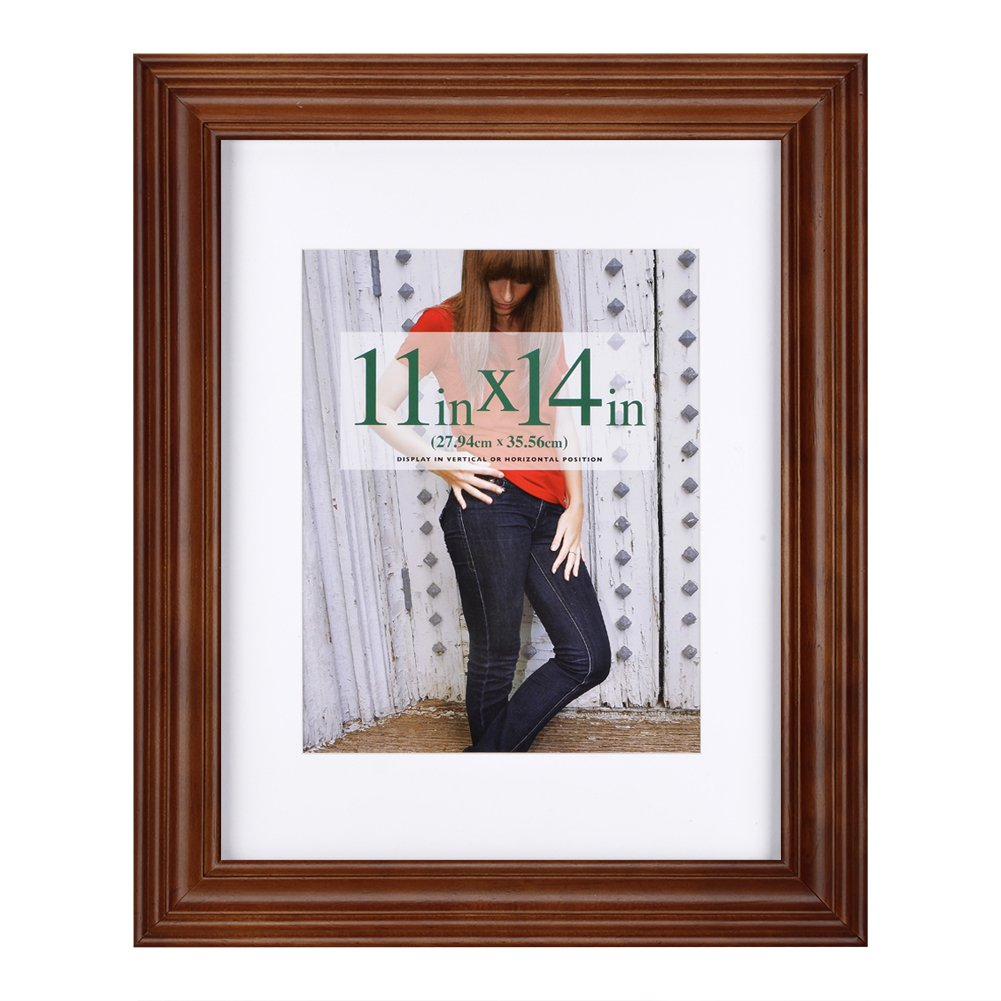 RPJC 11x14 Picture Frames Made of Solid Wood and High Definition Glass Display Pictures 8x10 with Mat or 11x14 Without Mat for Wall Mounting Photo Frame Brown
