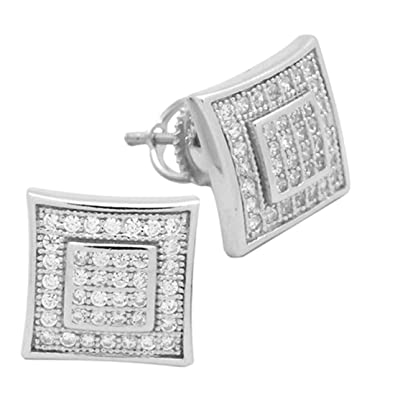 ff90d64fe Amazon.com: 11mm Square Hip Hop Stud Earrings Men Women Unisex Pave Ice  Simulated Cubic Zirconia Screw Back 925 Sterling Silver: Jewelry