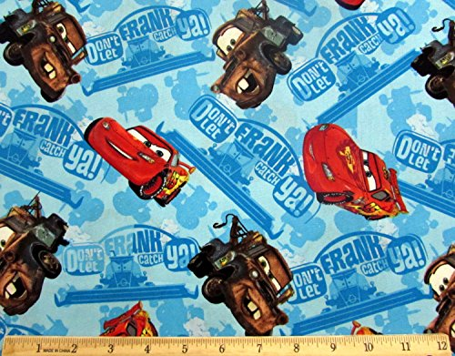 Disney Cars Don't Let Frank Get Ya Fabric Sold by the (Lightning Mcqueen Fabric)