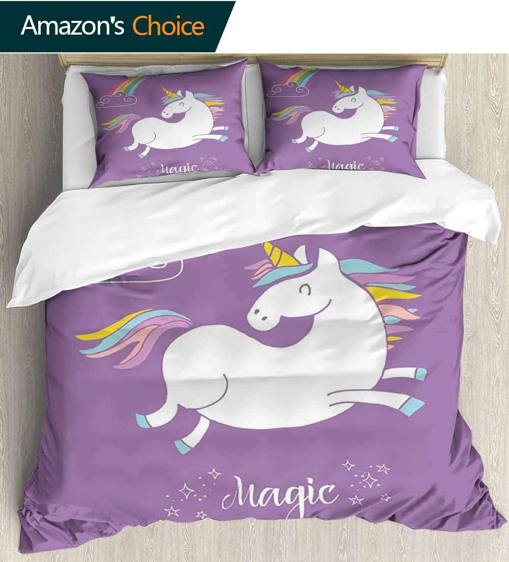 Unicorn 3 Piece Quilt Coverlet Bedspread,Mythical Animal with Clouds and Rainbow Figure Fairy Cute Unicorn Image Print All Season Lightweight Colorblock Kids Bedding Set(87''W x 102''L) Lavander White