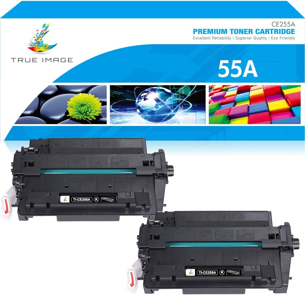True Image Compatible Toner Cartridge Replacement for HP 55A CE255A CE255X 55X Laserjet P3015 P3011 P3010 Enterprise 500 MFP M521dn M525dn M525f M521dw Ink Printer (Black, 2-Pack)