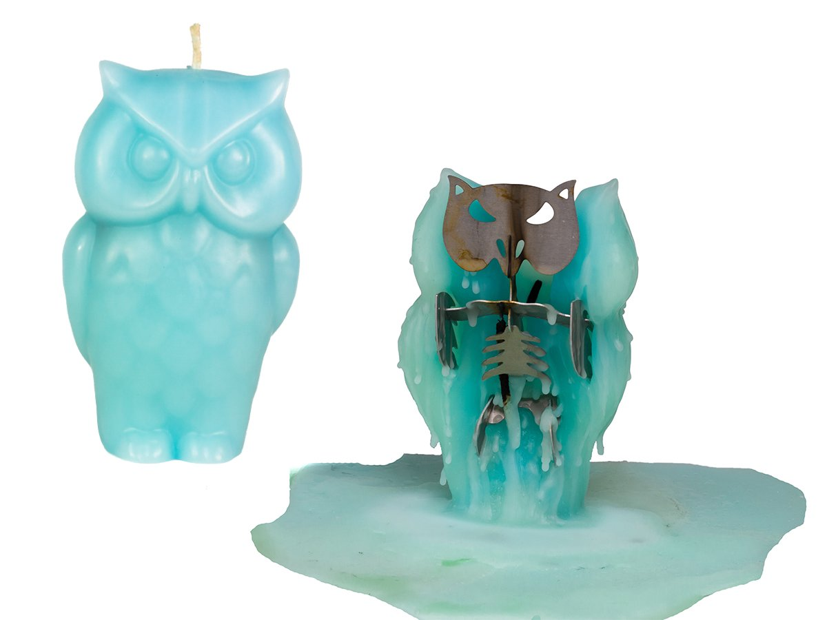 Owl Candle Unscented Skeleton Candles Blue