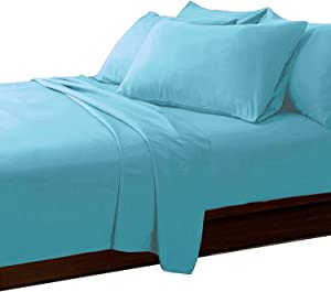 COTTONWALAS Heavy Egyptian Cotton at Affordable Price Customized Size 4-PCs Sheets Set (1 Fitted, 1 Flat, 2 Pillowcase) Customized Pockets Depth, Real 1500-TC Bed Sheets for Bed (Solid, Turquoise)