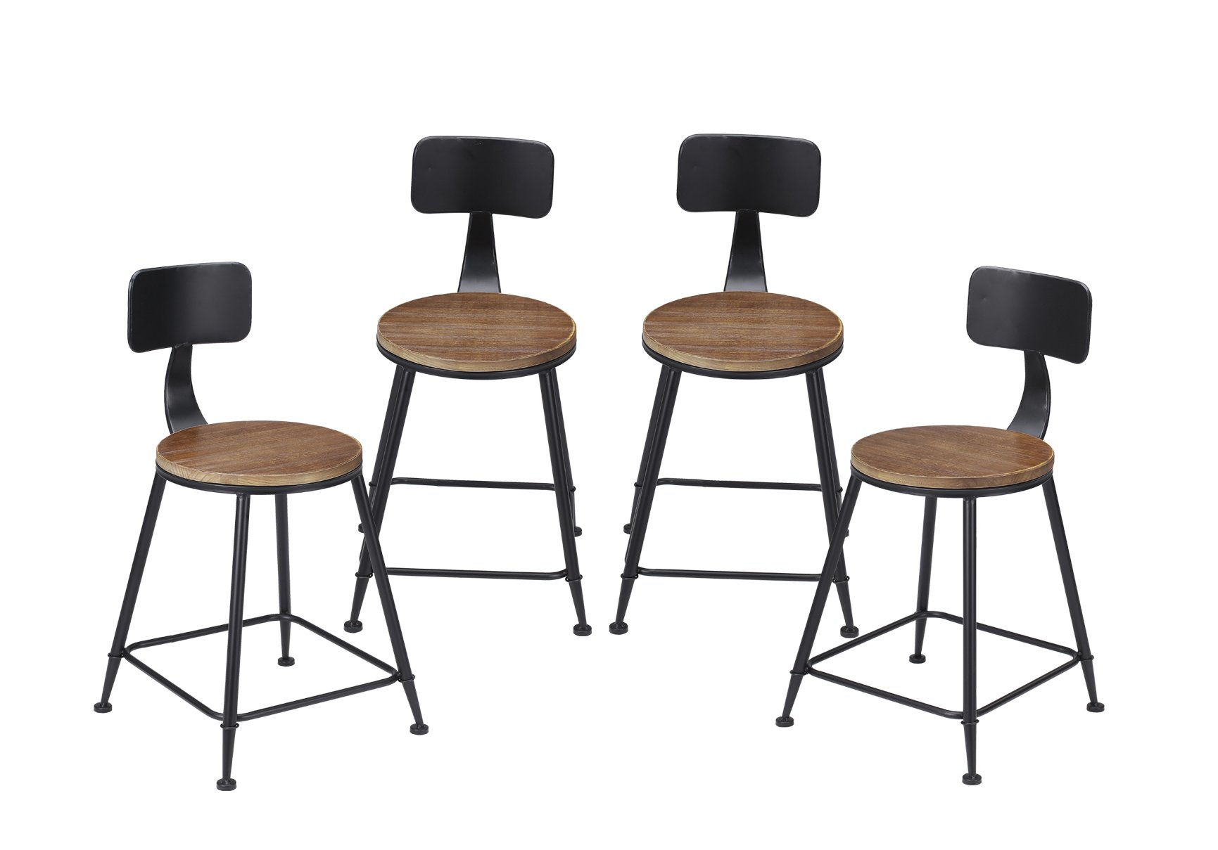 VILAVITA 4-set 19'' Round Wood Barstools Chairs with Backrest, Side Chair with Pinewood Top and Wrought Iron Frame Dining Chair, Retro Finish