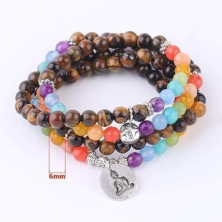 Uofr 108 Mala Beads Pulsera Piedras Naturales Tiger Eye ...