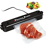 Vacuum Sealer Machine , FoodSealer Portable Automatic Compact Vacuum Sealing System for Vacuum and Seal for Dry Wet Foods Preservation Saver Cooking Mufti-function with 15pcs Bags - Black