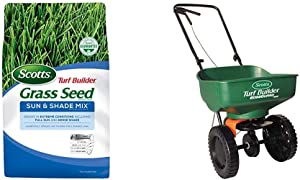Scotts Turf Builder Grass Seed Sun and Shade Mix, 7 Lb. Seeds up to 2,800 Sq. Ft. & Turf Builder EdgeGuard Mini Broadcast Spreader - Spreads Grass Seed - Holds Up to 5,000 Sq. Ft.