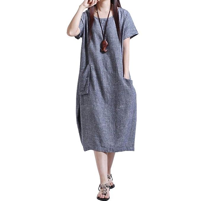 Sidiou Group Cuello Redondo Manga Corta Sueltos Camisetas Vestidos Mujer Verano Casual Sabana de Algodon Vestidos