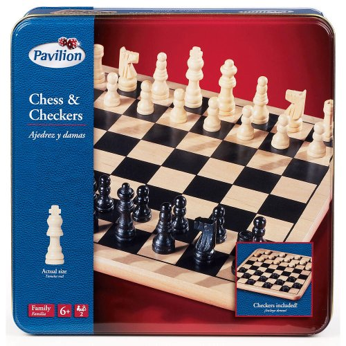 - Pavilion Chess & Checkers Board Game Set in a Tin