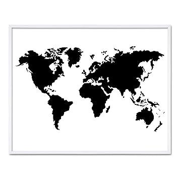 landkarte schwarz weiß PHOTOLINI Poster mit Bilderrahmen Weiss 'Weltkarte' 40x50 cm  landkarte schwarz weiß