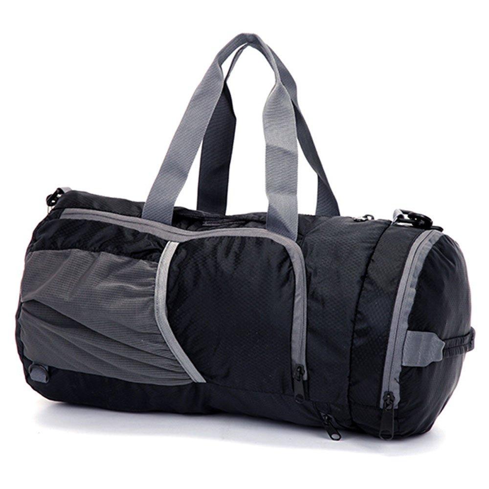 スタイリッシュなシンプルさメンズトラベルバッグ折りたたみバッグポータブルトラベルバッグ大容量トートバッグ 旅行用ハンドバッグ (色 : ブラック) B07NSJ3DSZ