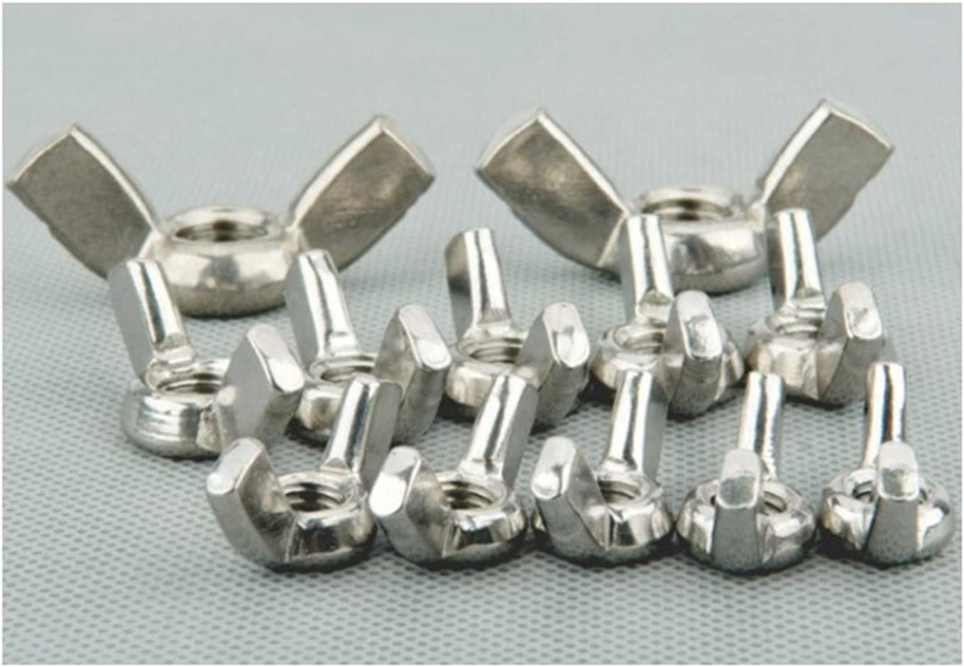 DINGGUANGHE-CUP Hex Nuts 50 Pieces 304 Stainless Steel Wing Nuts Butterfly Nuts M3 Metic Threaded Machine Screw Nuts
