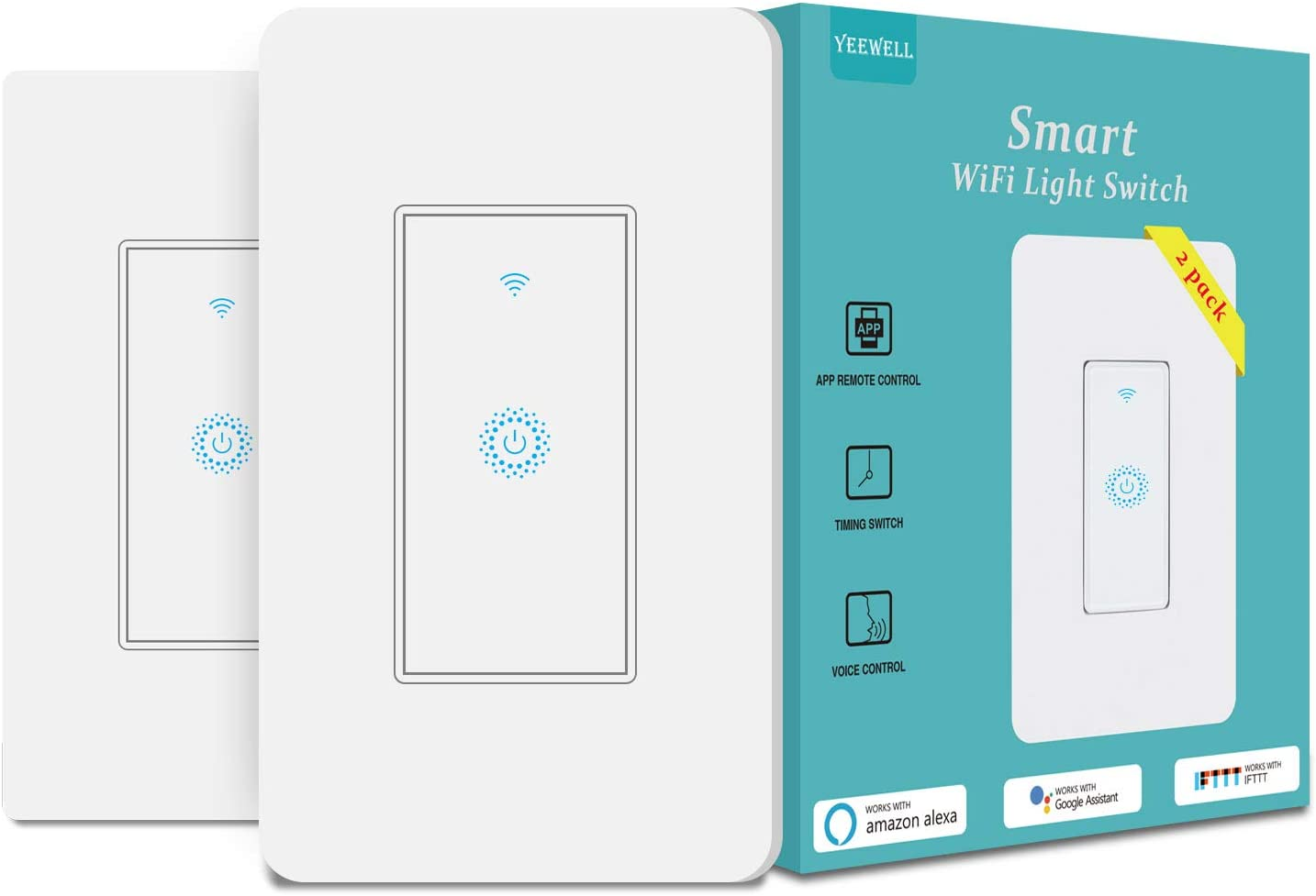 Smart Light Switch&Alexa WiFi Smart Switch&2.4Ghz WiFi Light Switch with Timer and Remote Control,Schedule,Neutral Wire Needed,Compatible with Alexa, Google Assistant and IFTTT,Single Pole(2 pack)