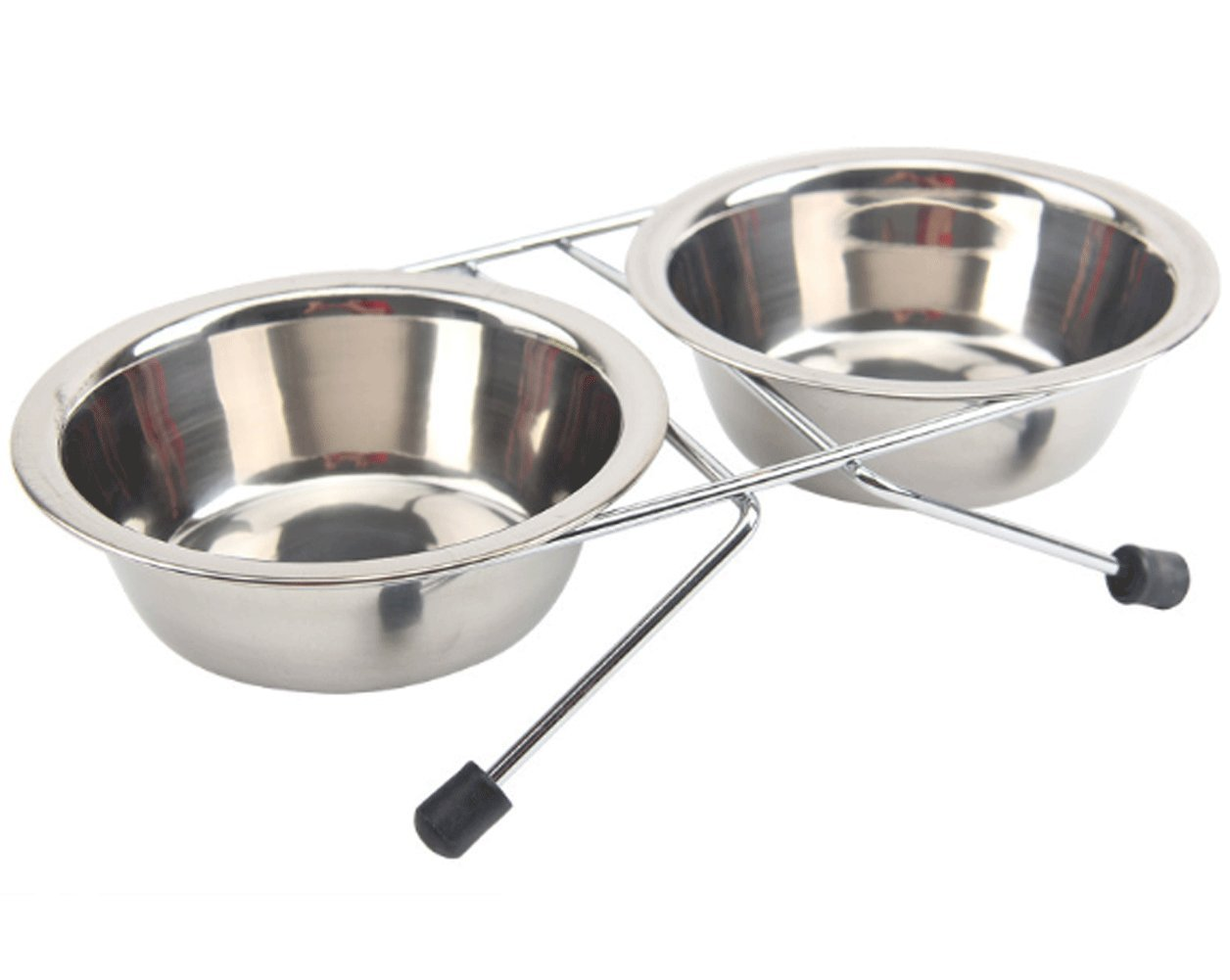 Double Diner Pet Bowl,Stainless Steel Double Dog Diner,Dog Raised Bowls By Cydnlive (L)