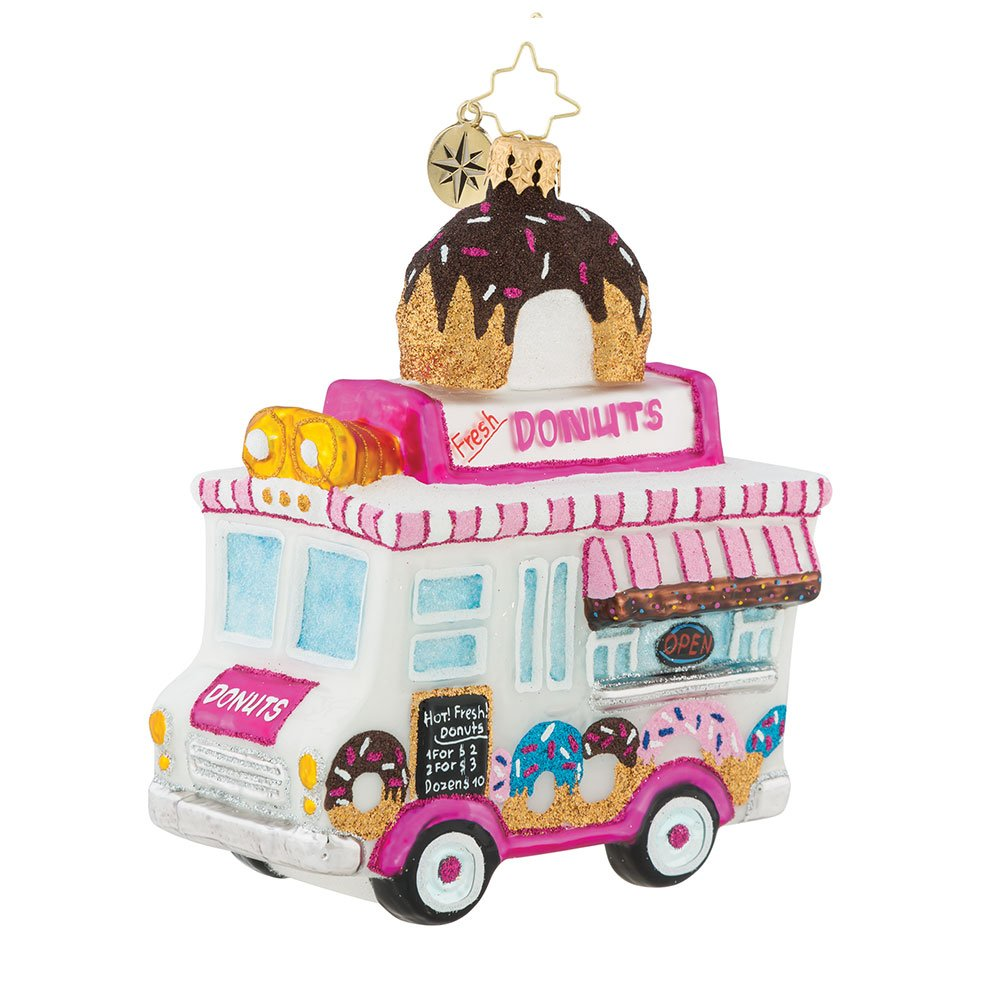 Christopher Radko Sprinkle Express Donut Truck Themed Glass Ornament