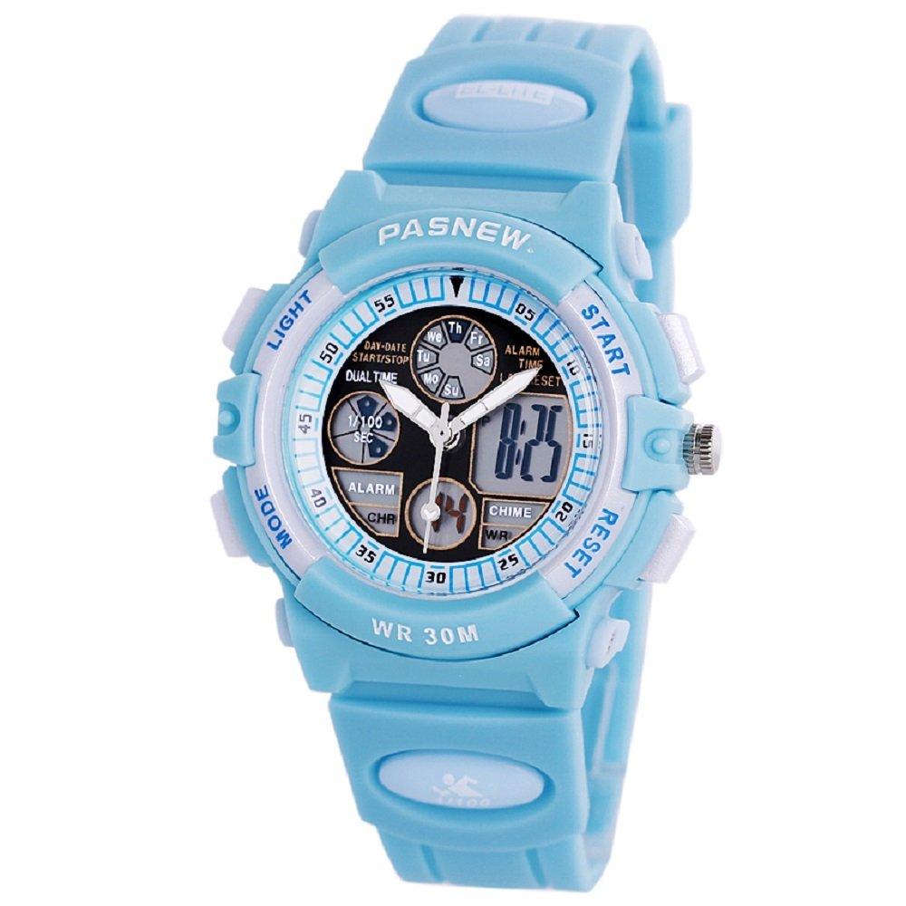 Jewtme Boys Girls Waterproof Sport Digital Watch Dual Time Display - Azure