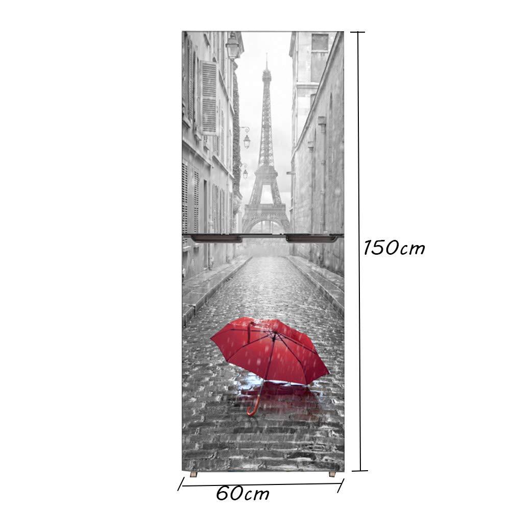 hll-036 Etiqueta Engomada del Refrigerador Armario Cubrir DIY Pegatina para Refrigerador Cubierta Completo Puerta Pared Calcoman/ía Pasillo Mural Par/ís En La Lluvia,60X150cm 23.6X59