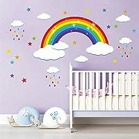 decalmile Regenboog Muurstickers Witte Wolken Kleurrijke Regendruppels en Sterren Muurtattoo Baby Kinderkamer Kinderen…