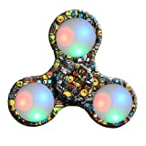 Oyedens LED Light Tri-Spinner Fidget Toy Hand Spinner Stress Reducer Relieve Anxiety and Boredom Camo (Colorful A)