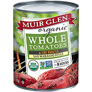 Muir Glen Organic San Marzano Style Fire Roasted Whole Tomatoes, 28 Ounce -- 6 per case.