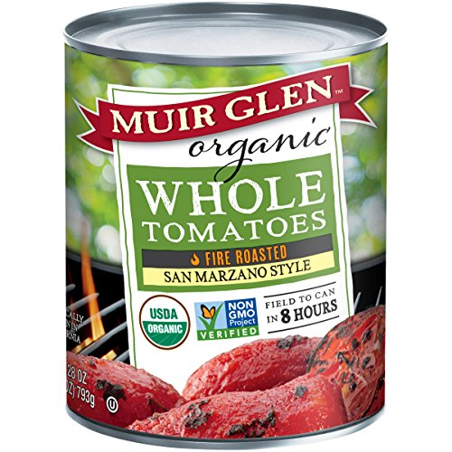 Muir Glen Organic San Marzano Style Fire Roasted Whole Tomatoes, 28 Ounce - 6 per case. - Fire Roasted Crushed Tomatoes