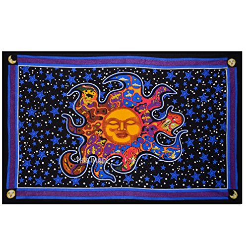 - Psychedelic Sleeping Sun Tapestry Wall hanging Celestial Sun and moon Tapestry dorm decor Hippie Bedding Bohemian Bedspread Bed cover Beach Blanket Yoga mat