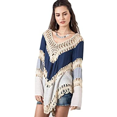 9f75487acf67f Usstore Women s Lace Pure Manual Crochet Hollow Beach Cover Up Swimsuit Tops  (S