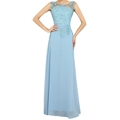 Molly Women Beaded Lace Chiffon Prom Dress Evening Gown 5XL Sky Blue