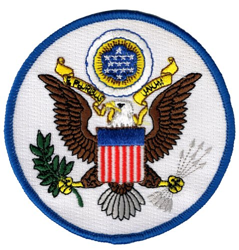Great Seal United States White Embroidered Patch America Eagle Iron-On