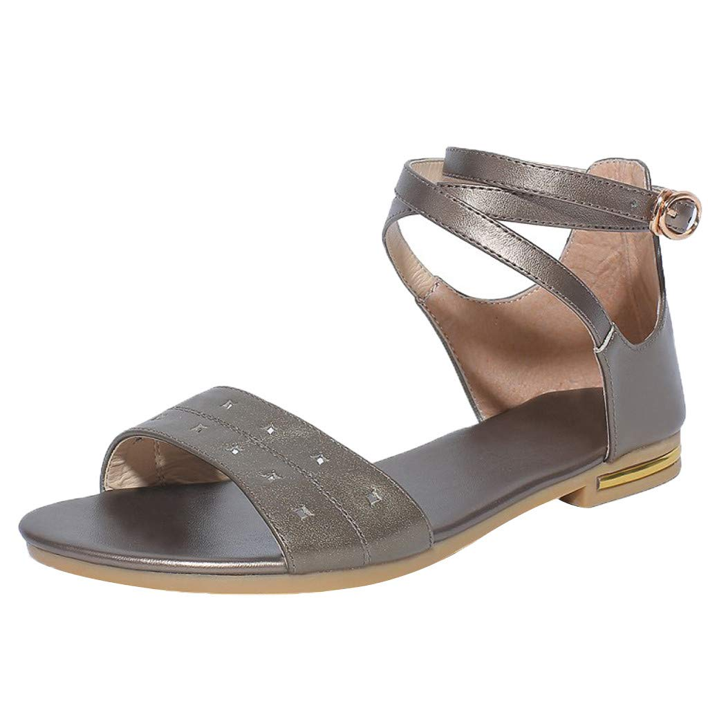 〓COOlCCI〓2019 Women's Cute Open Toes One Band Ankle Strap Flat Sandals, Metal Buckle Summer Flat Sandals for Women Brown by COOlCCI_Shoes