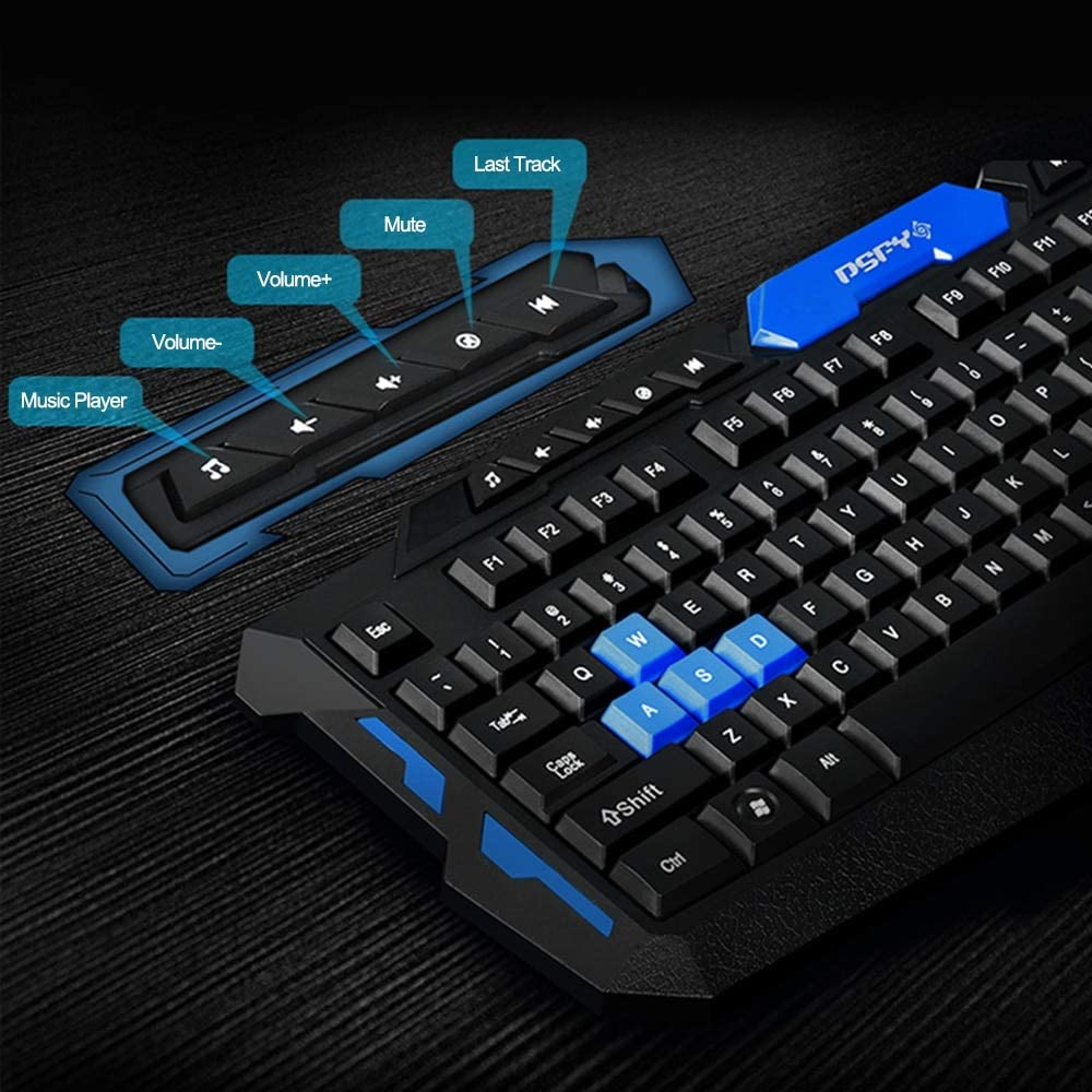 V2AMZ 2.4GHz Wireless Keyboard Gaming Keyboard Mouse Combo 19 Keys Anti-ghosting Adjustable DPI Mouse USB Receiver Adapter Mouse Mat
