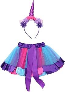 LUOEM Falda de Tutú Arco Iris y Diadema de Unicornio para ...