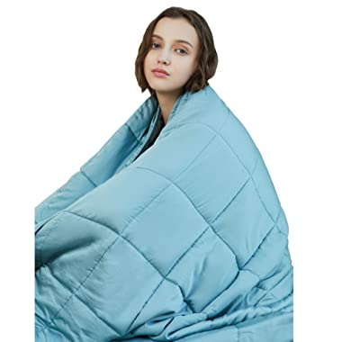 YnM Cooling Weighted Blanket, 100% Natural Bamboo Viscose, 15 lbs 48''x72'', Luxury Heavy Blanket, Sea Grass.