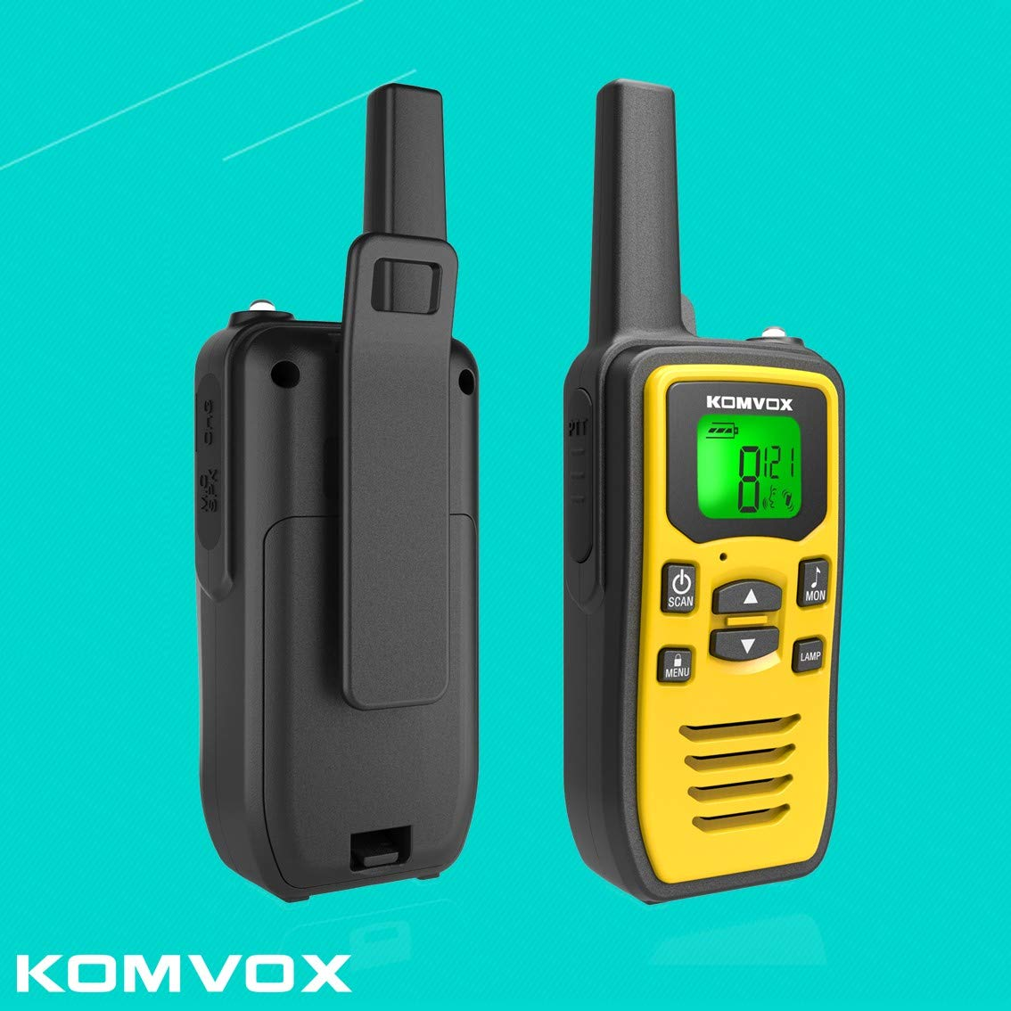 Professional Rechargeable Walkie Talkies Long Range for Adults Two Way Radio 22 Channels VOX Scan LCD Display with LED Flashlight Ideal for Field Survival Biking and Hiking Camping Travel Excursion