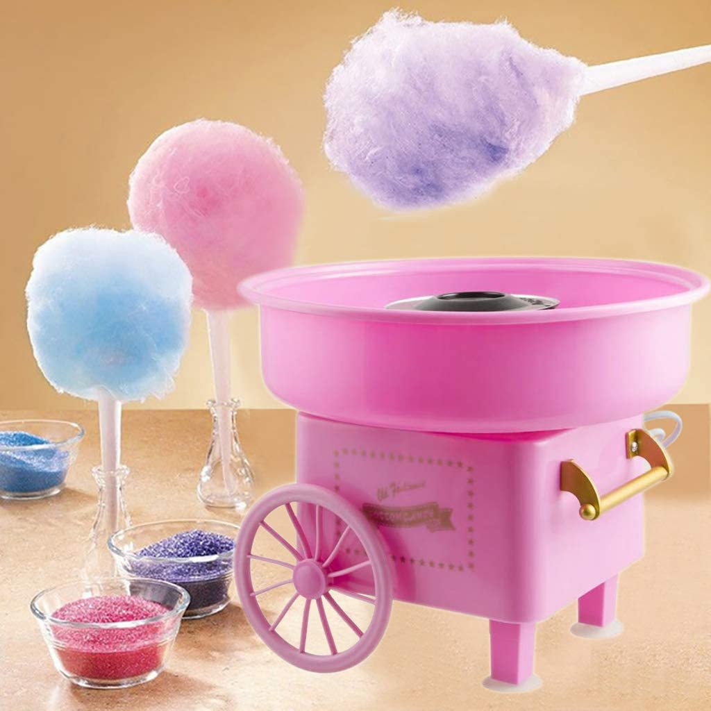 FSTDelivery Cotton Candy Floss Maker, Cotton Candy Machine JK-1801 Cotton Candy Maker Fashion Mini Cotton Candy Machine Stainless Steel Bottom Groove, Ceramic Heating Tube(30x30x28cm) (Pink 2)