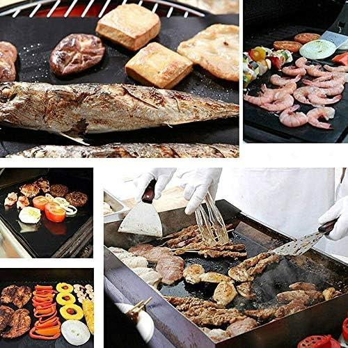 Heerda BBQ Grillmatte, 5er Set BBQ Antihaft Grill-und Backmatte Wiederverwendbar Premium Grill- und Backmatte mit Teflon Antihaftbeschichtung für Grill und Backofen,grillmatte 40 * 50cm